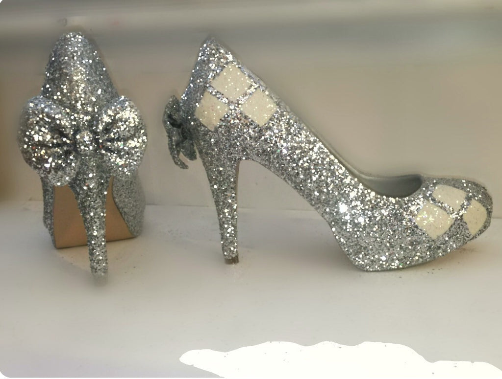 51f296a70908 Harley Quinn white silver sparkly glitter heels shoes bride wedding – Glitter  Shoe Co