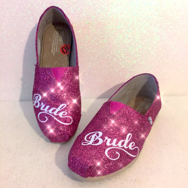 Women's Sparkly pink fuchsia Glitter Toms Wedding Bridal Flats Shoes