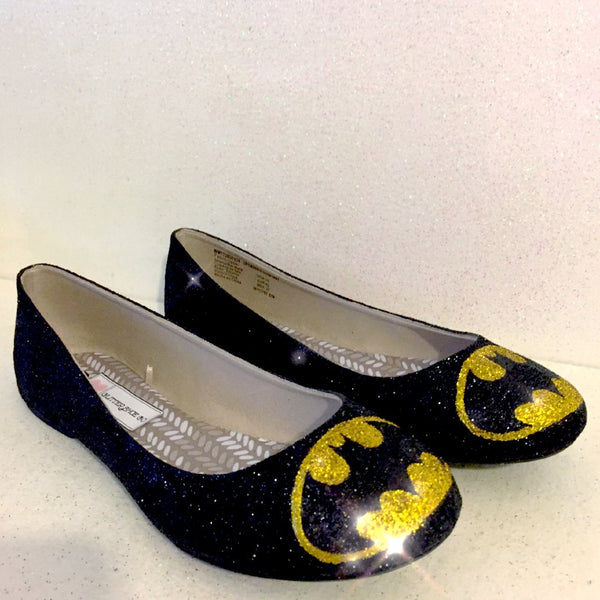Women's Sparkly black Glitter Ballet Flats Superhero shoes Batman wedding bride