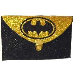 Women's SuperHero Glitter Clutch Purse Bag Yellow Gold Batman handbag prom graduation gift