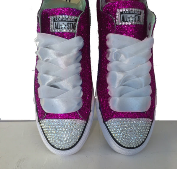 Womens Glitter bling Crystals Converse All Star Pink wedding bride prom birthday