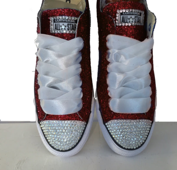 Womens Glitter bling Crystals Converse All Stars burgundy shoes wedding bride prom