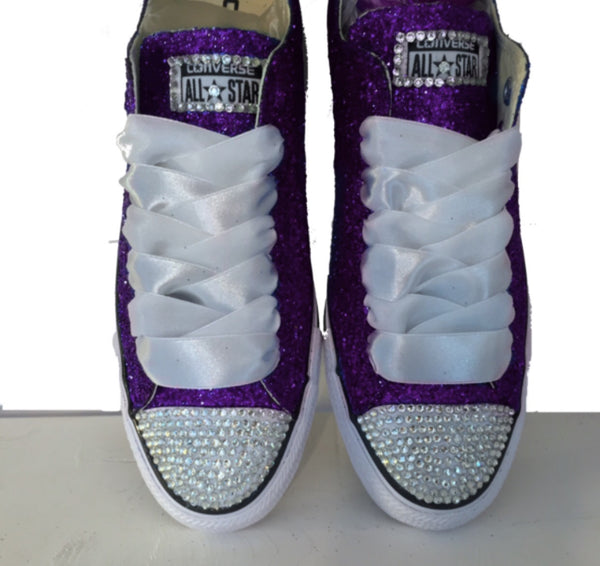 Womens Sparkly Glitter Bling Crystals Converse All Stars Purple Bride Wedding shoes Prom