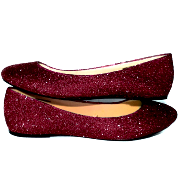 dc9303a6b7c Sparkly Burgundy Maroon Dark Red Glitter Ballet Flats Wedding Bride Prom  Shoes Pin Up