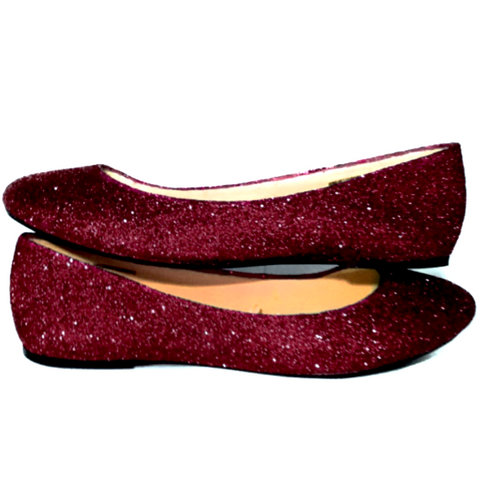 Sparkly Burgundy Maroon Dark Red Glitter Ballet Flats Wedding Bride Prom Shoes Pin Up