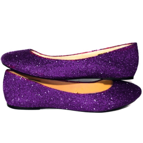 Women's Sparkly Plum dark purple Glitter Ballet Flats Wedding Bride Princess Prom Shoes