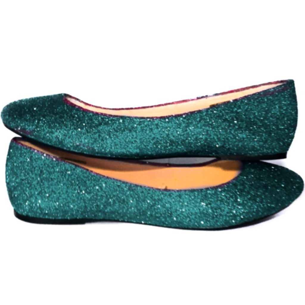 Women's Sparkly Teal Glitter BALLET Flats bride wedding shoes prom bridesmaid - Glitter Shoe Co