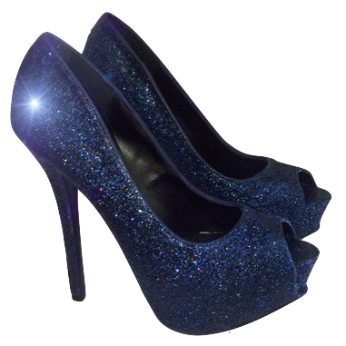 Women's Sparkly Navy Blue Glitter Peep Toe Heels Pumps shoes wedding bride