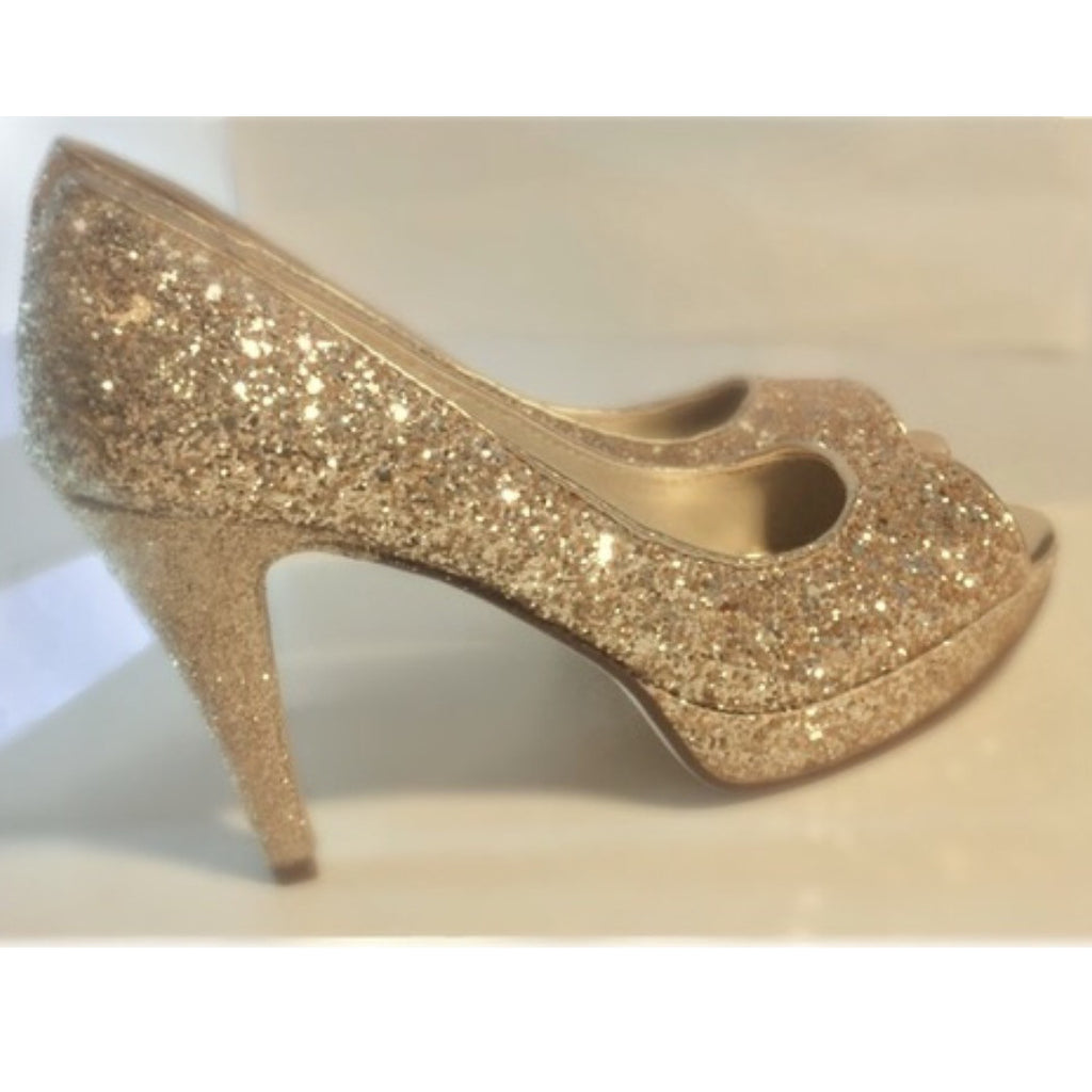 6b559a8537640 Sparkly Glitter Champagne Gold Peep toe Heels Wedding Bride Shoes