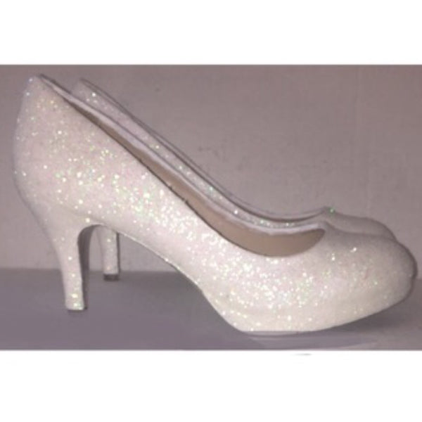 Women's Sparkly White or Ivory Heels Glitter high & low Heels Stiletto shoes wedding bride Glitter Shoe Co