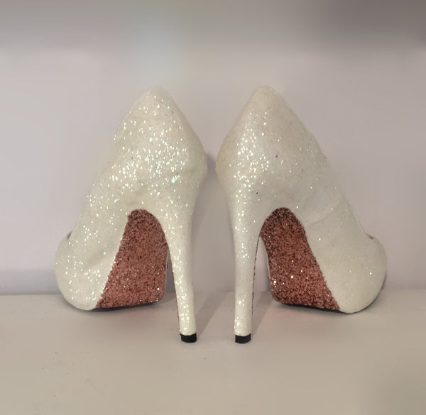 Womens Sparkly White or Ivory Glitter Heels Wedding bride Shoes Rose Gold Soles