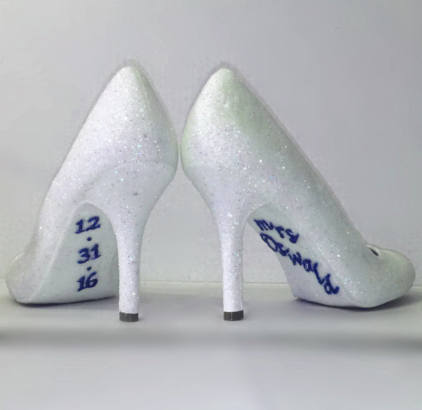 Womens Sparkly White or Ivory Glitter high low Heels Wedding bride Shoes Personalized