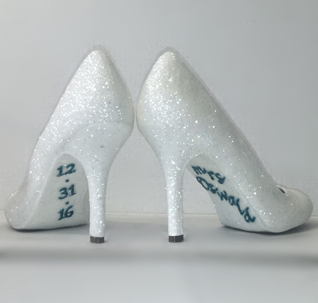 20747990ee ... Womens Sparkly White or Ivory Glitter high low Heels Wedding bride Shoes  Personalized ...