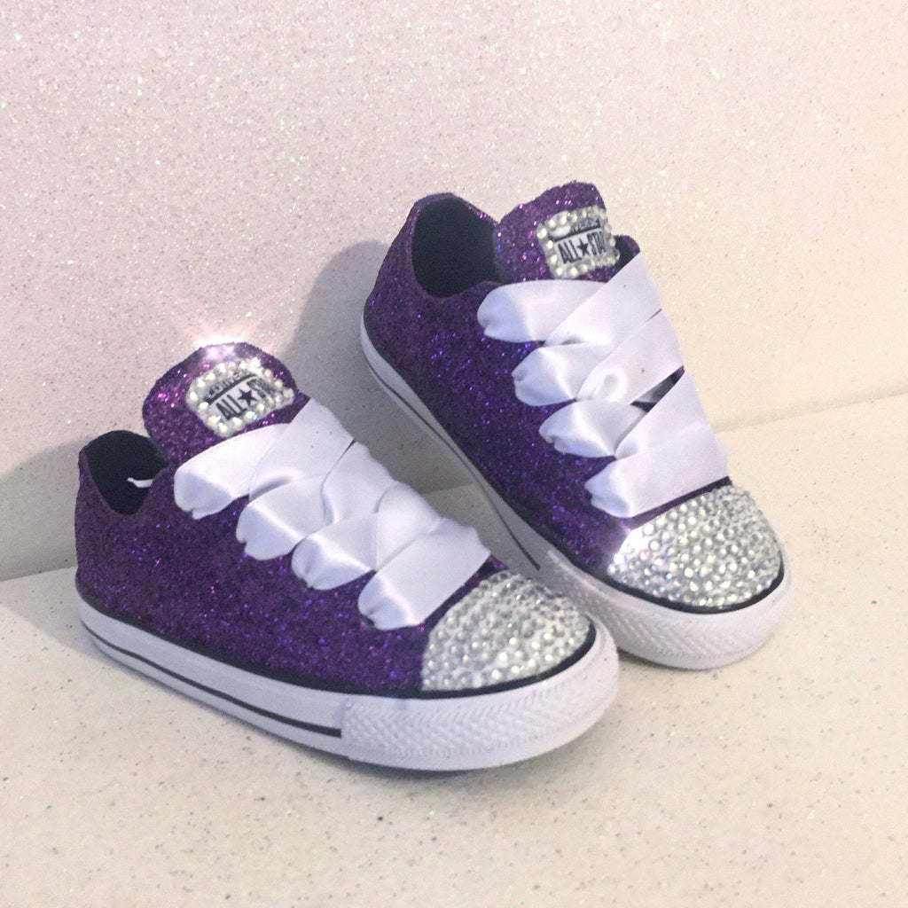 529c0c23125c8 Girls Toddler Sparkly Glitter Converse All Stars Crystals Sneakers Shoes  Purple