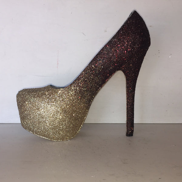 Women's Sparkly Burgundy Gold ombre Glitter High Low Heels wedding bride Pumps shoes