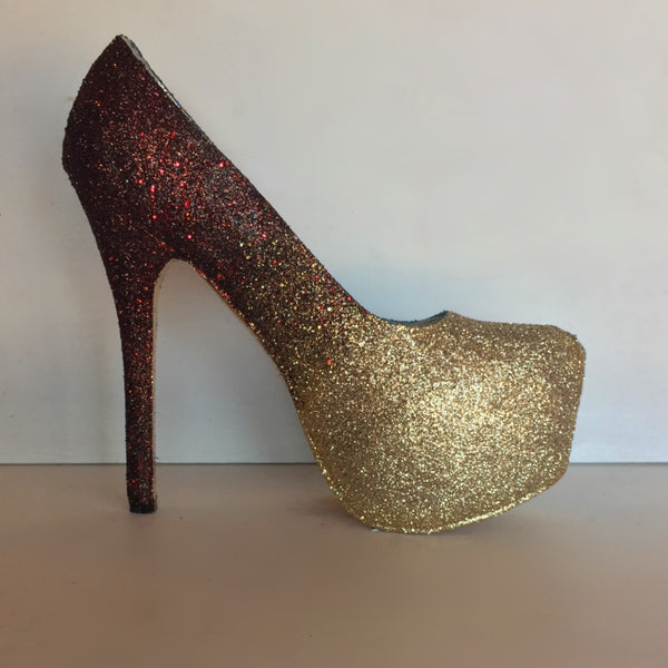 Women's Burgundy Gold ombre Glitter Heels wedding bride Prom shoes