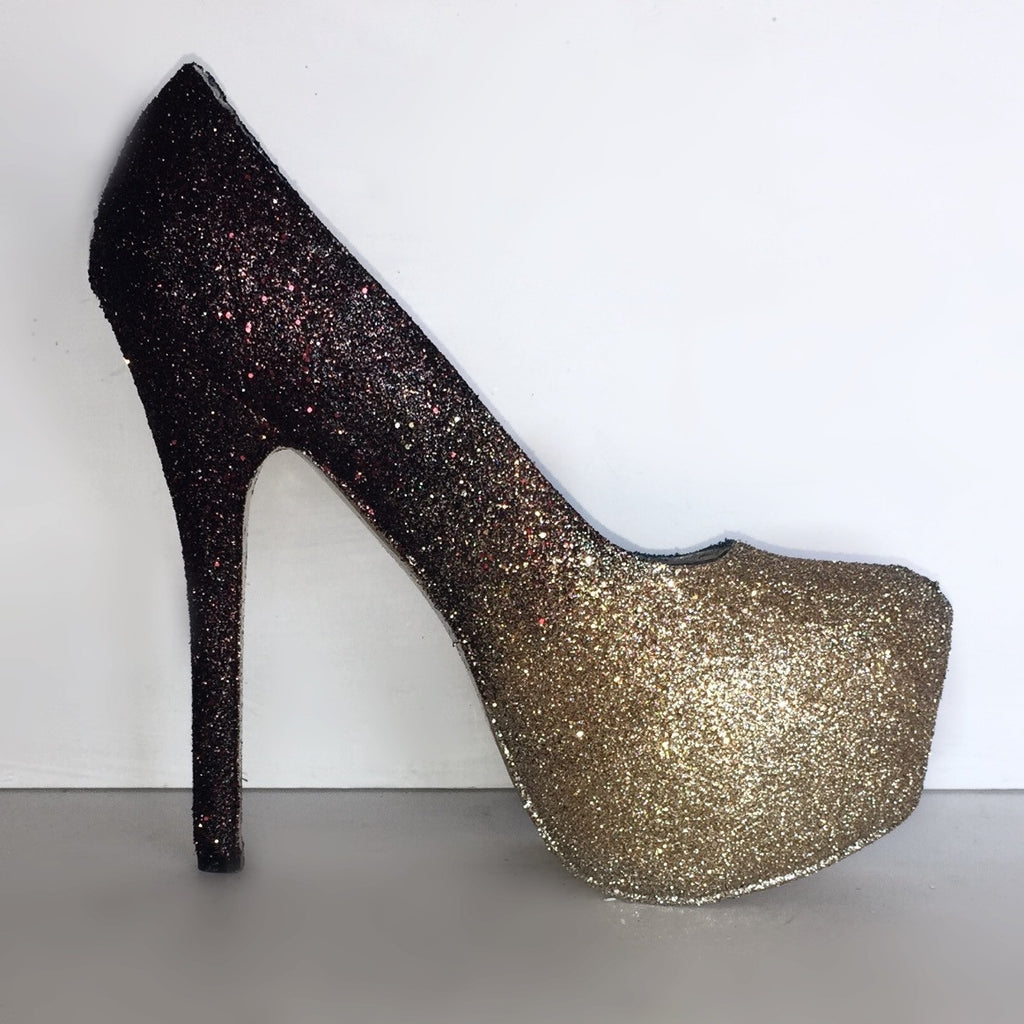 Women's Black Gold ombre Glitter Heels wedding bride Prom shoes
