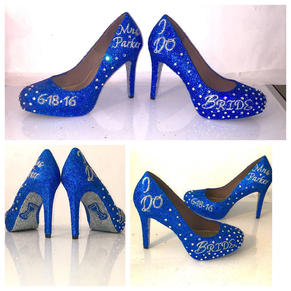 Sparkly Royal Blue Glitter Heels wedding bride Peep toe or Pumps shoes Personalized - Glitter Shoe Co