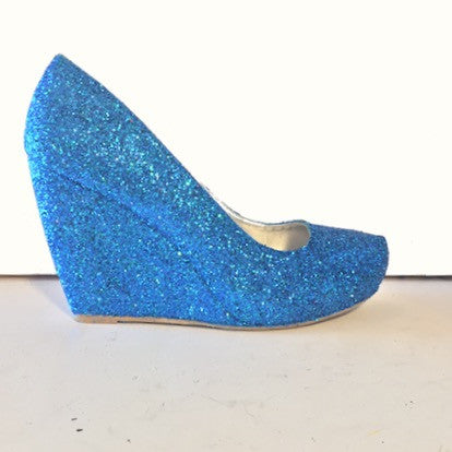 Women's Sparkly Malibu Blue Glitter wedge Heels wedding bride prom shoes Personalized