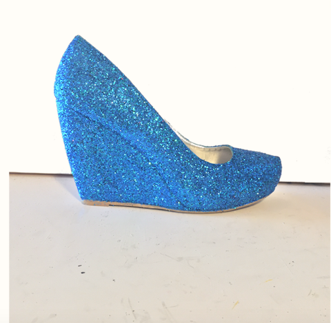 Women's Sparkly Royal Blue Glitter wedge Heels wedding bride prom shoes Personalized
