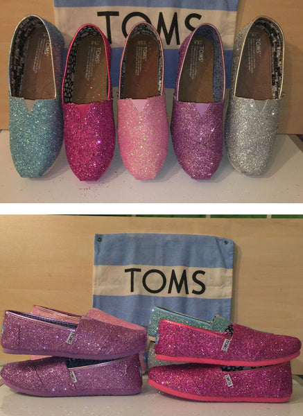 Womens Sparkly Glitter Toms Flats shoes bridal Bride Wedding Comfortable Hot Pink or Magenta - Glitter Shoe Co