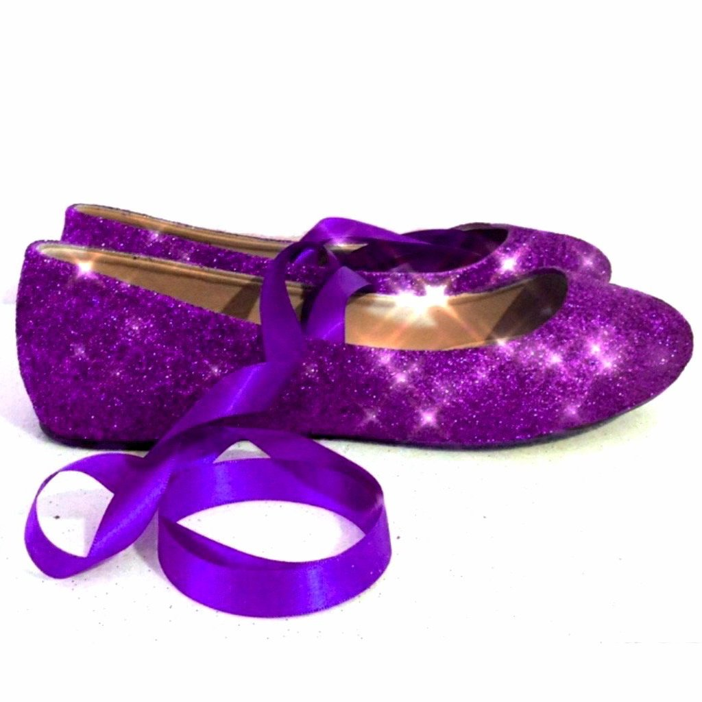 Women's Glitter Ballet Flats with Satin Ribbon Purple Plum Wedding Bridal Shoes