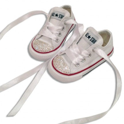 8ffc7c4bfa0 ... Kids Girls Sparkly White Converse All Stars Bling Flower Girl Shoes  Wedding bride - Glitter Shoe ...
