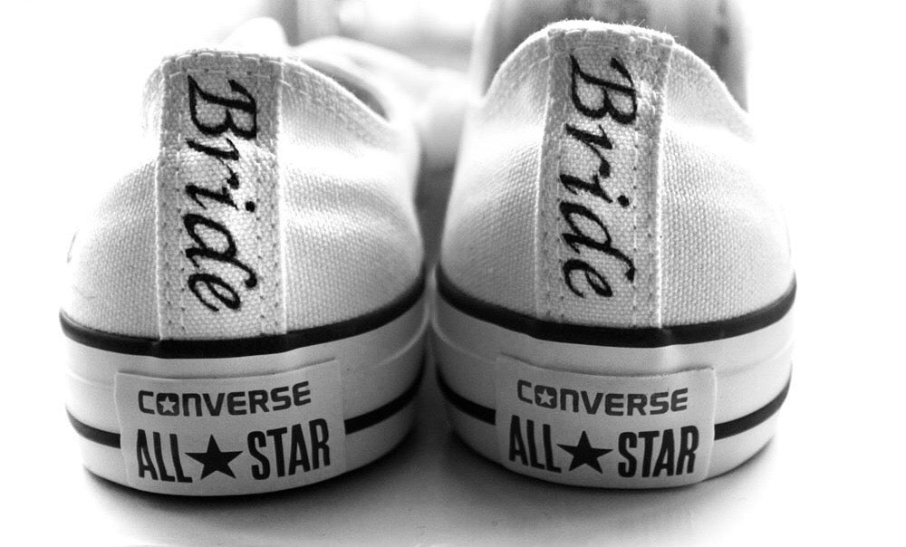 Bridal Converse All Stars White Canvas Classic Sneakers Bride Shoes