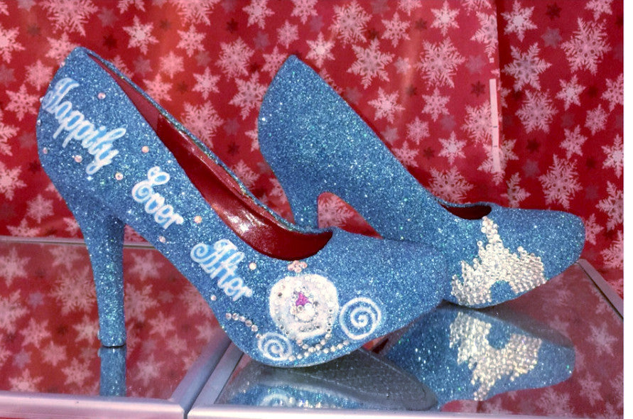 Cinderella Blue Sparkly Crystals Glitter Fairytale high low Heels wedding bride shoes - Glitter Shoe Co