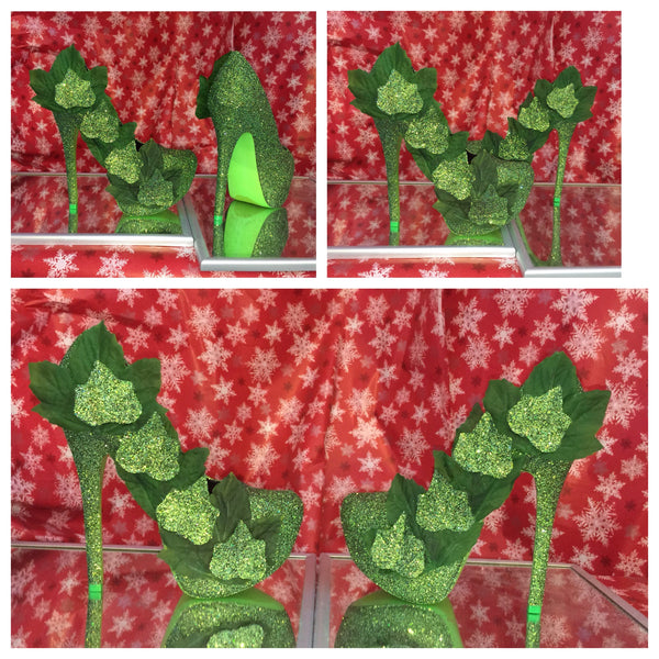 Women's Poison Ivy Green Sparkly Glitter SuperHero Heels costume shoes wedding bride - Glitter Shoe Co