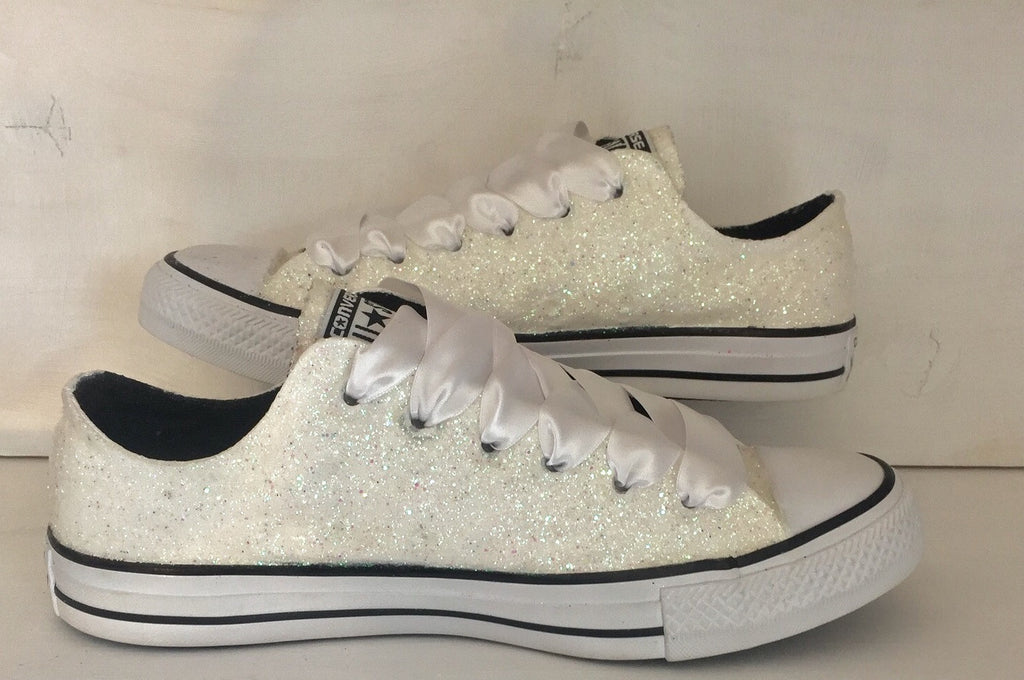 Womens Sparkly White Or Ivory Glitter CONVERSE All Stars Bride Wedding Shoes Sneakers