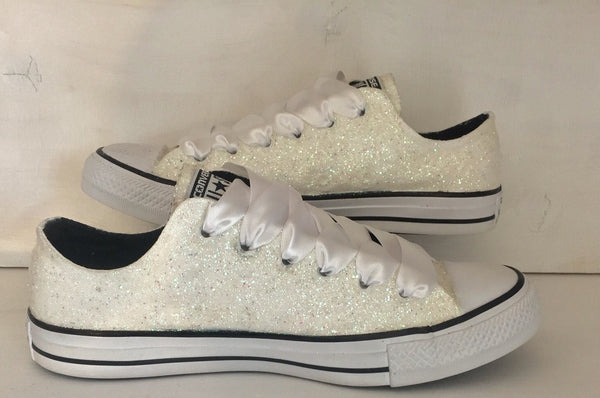 Womens Sparkly White or Ivory Glitter CONVERSE All Stars Bride Wedding Shoes Sneakers - Glitter Shoe Co
