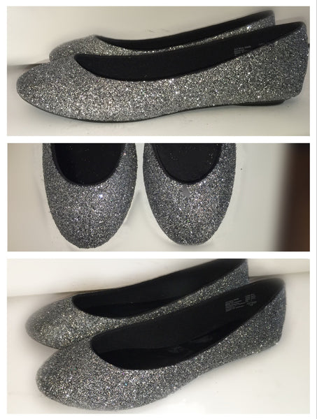 Women's Sparkly Glitter Gunmetal Grey Dark Silver BALLET Flats bride wedding shoes - Glitter Shoe Co