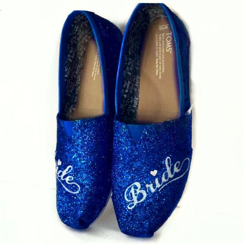 Womens Sparkly Glitter Toms Royal Blue White  Weddings Bride Shoes