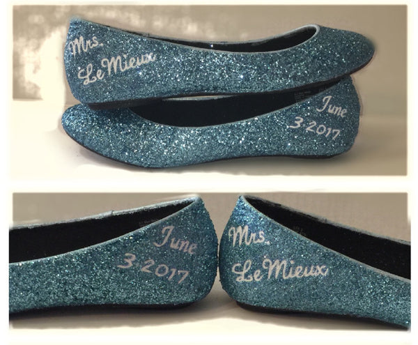 Womens Sparkly Cinderella Blue white Glitter ballet Flats shoes Personalized wedding bride - Glitter Shoe Co