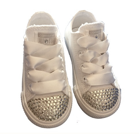 Kids Sparkly White Ivory Glitter Converse All Star Pearls Flower GiRL wedding bridal Shoes