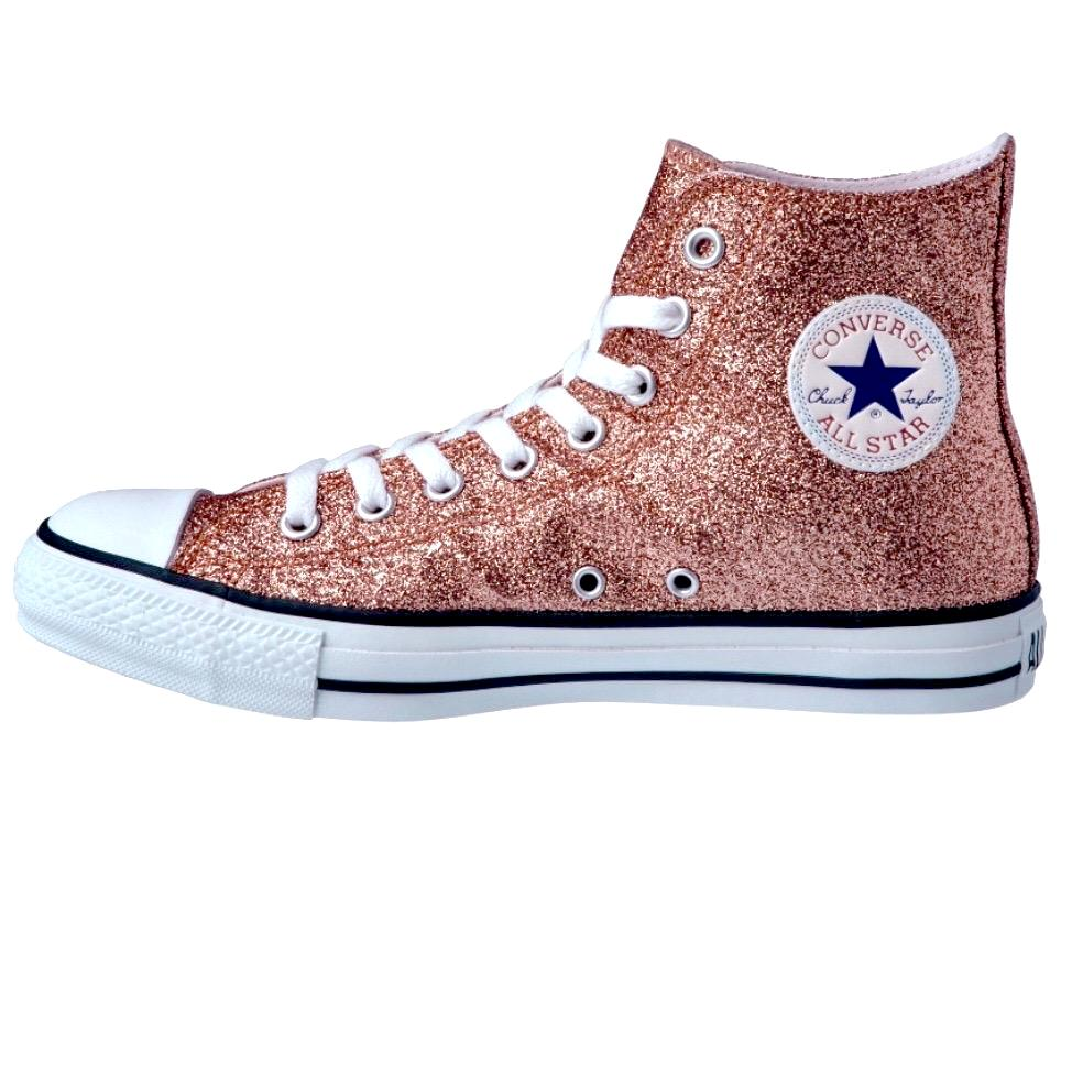 Women's Sparkly Glitter Converse All Stars High Top or Wedge Heel - Rose Gold