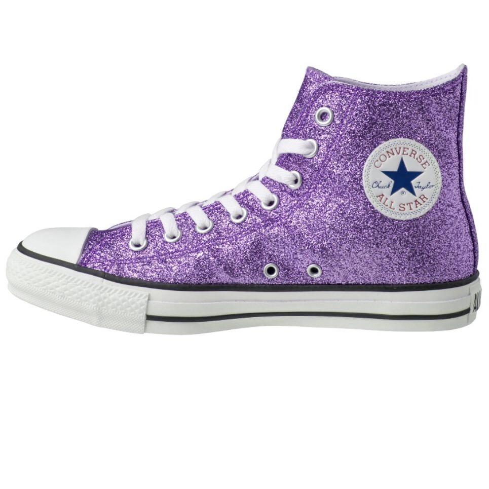 Women's Sparkly Glitter Converse All Stars High Top - Lavender