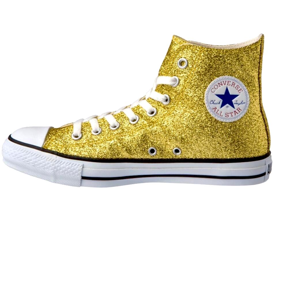 Women's Sparkly Glitter Converse All Stars High Top - 24k Gold