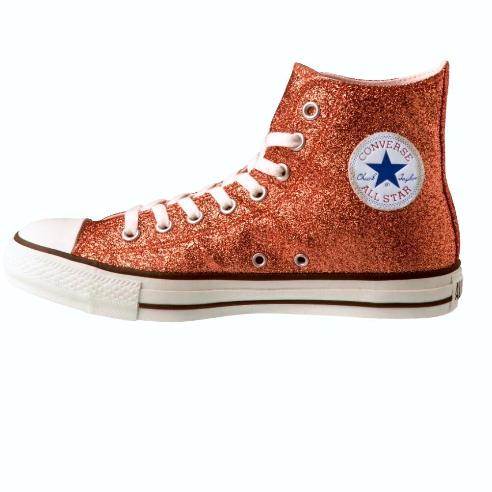 Women's Sparkly Glitter Converse All Stars High Top - Orange