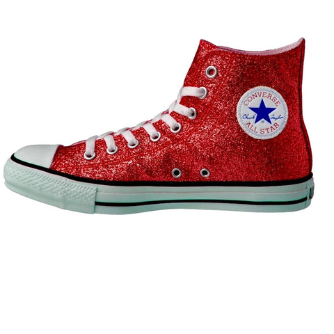 Women's Sparkly Glitter Converse All Stars High Top Red - Glitter Shoe Co