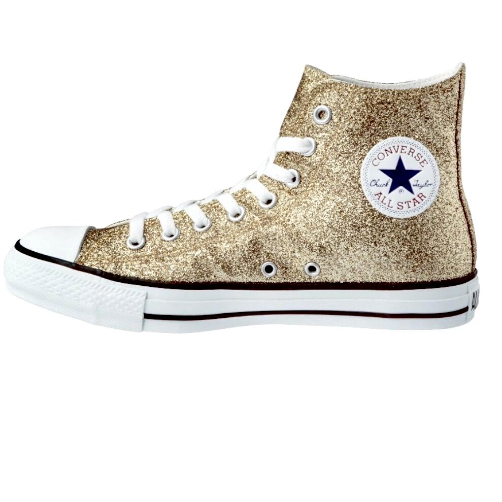 Women's Sparkly Glitter Converse All Stars High Top - Champagne Gold
