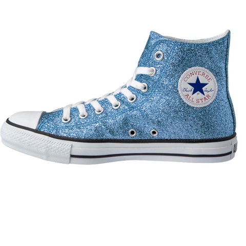 Women's Sparkly Glitter Converse All Stars High Top Light Blue - Glitter Shoe Co