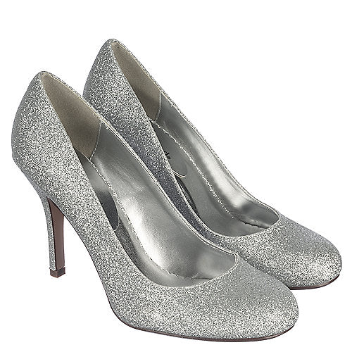 Women's Sparkly Silver Glitter Peep Toe Heels shoes Wedding Bride Pumps