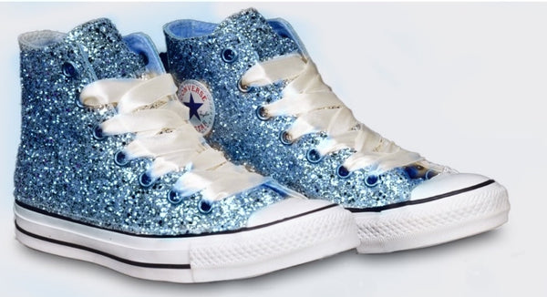 Womens Sparkly Glitter Converse All Stars Baby Blue High Top Cinderella wedding bride shoes - Glitter Shoe Co