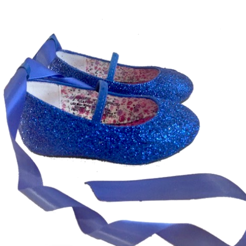 new arrival d7696 4a60a Sparkly Glitter Ballet Flats Shoes Birthday Flower Baby Girl Toddler  Newborn Royal Blue