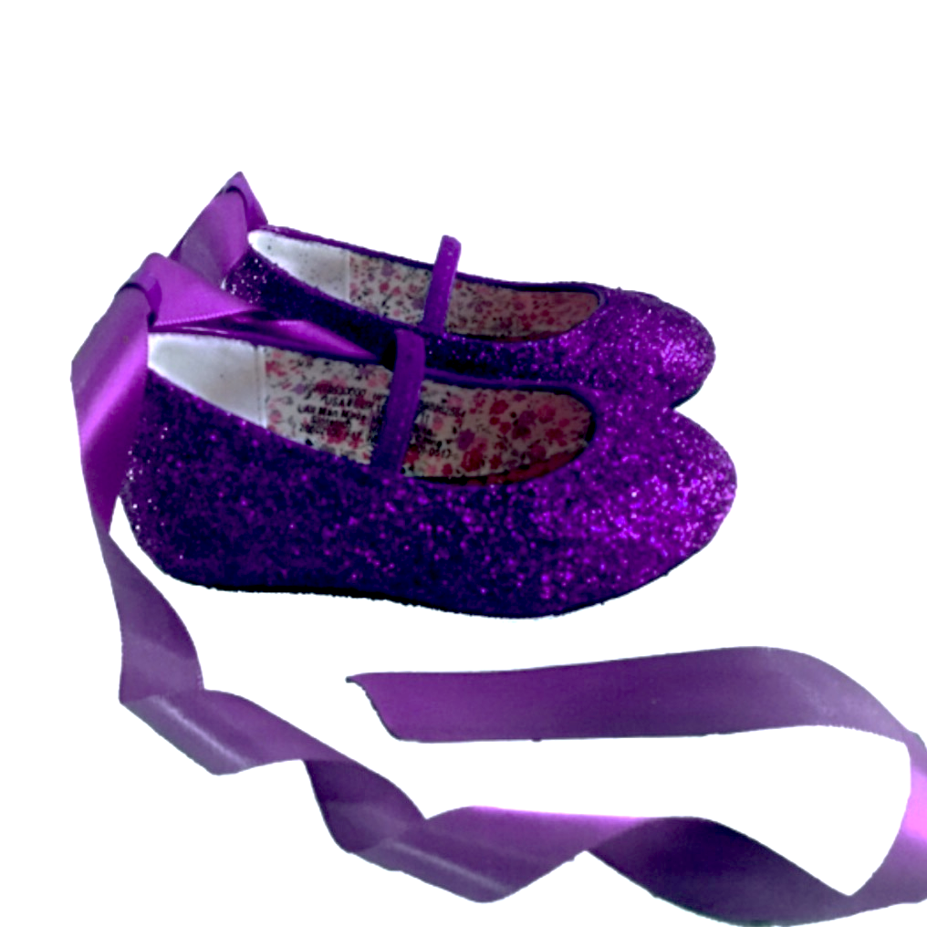 Sparkly Glitter Ballet Flats Shoes Birthday Flower Baby Girl Toddler Newborn Purple