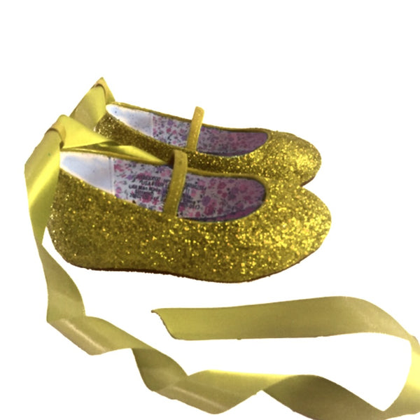 Sparkly Glitter Ballet Flats Shoes Birthday Flower Baby Girl Toddler Newborn Gold yellow