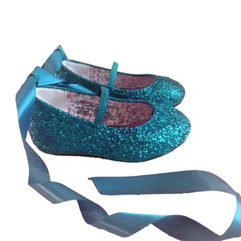 Sparkly Glitter Ballet Flats Shoes Birthday Flower Baby Girl Toddler Newborn Teal