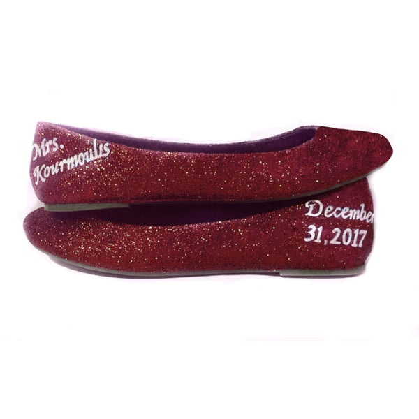 Womens Sparkly Burgundy Maroon Red Glitter Ballet Flats Wedding Bride Shoes